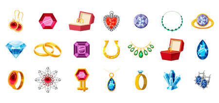 Jewerly icon set. Cartoon set of jewerly vector icons for web design isolated on white background Ilustração