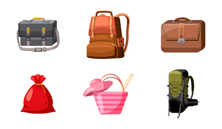 Bag icon set. Cartoon set of bag vector icons for web design isolated on white background