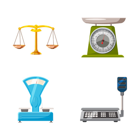 Weighing icon set. Cartoon set of weighing vector icons for web design isolated on white background