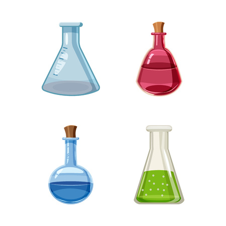 Chemical pot icon set. Cartoon set of chemical pot vector icons for web design isolated on white background Ilustração