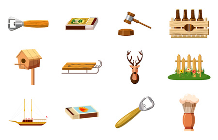 Wood objects icon set vector illustration