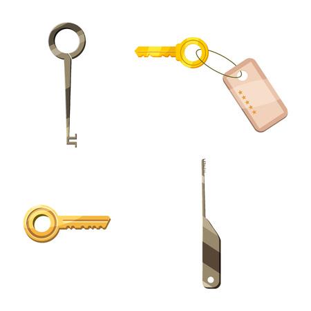 Door key icon set, cartoon style Illustration