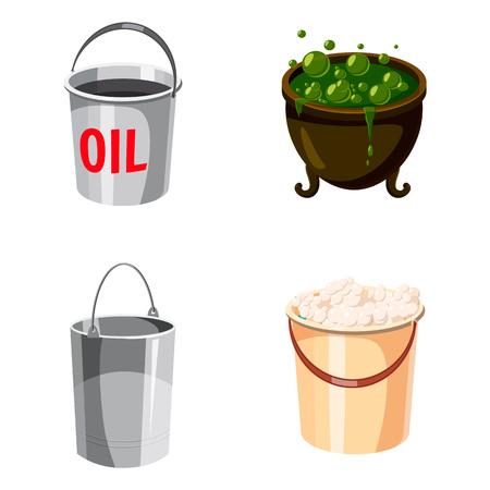 Cauldron icon set. Cartoon set of cauldron vector icons for web design isolated on white background Illustration