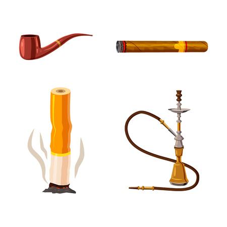 Smoking icon set, cartoon style
