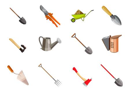 Set di icone di attrezzi da giardino. Insieme del fumetto delle icone di vettore degli strumenti di giardino per web design isolato su fondo bianco