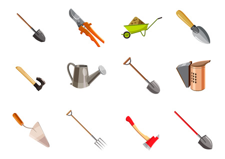Garden tools icon set. Cartoon set of garden tools vector icons for web design isolated on white background Vettoriali