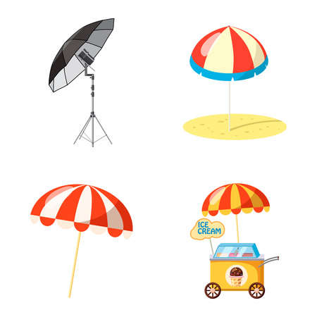 Umbrella icon set. Cartoon set of umbrella vector icons for web design isolated on white background