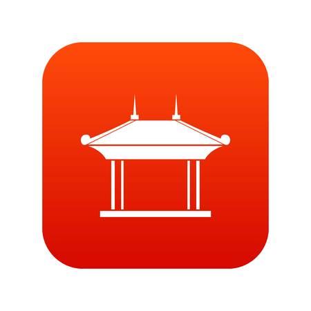 Pagoda icon digital red Illustration