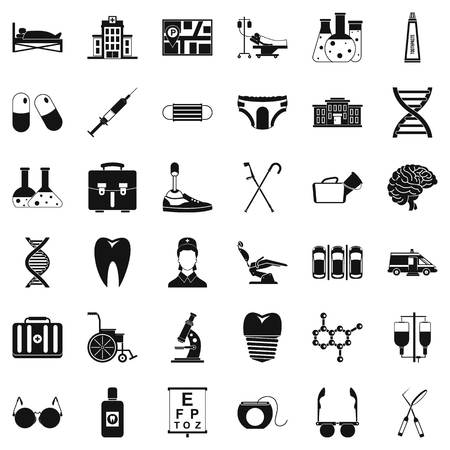 Medical place icons set. Simple set of 36 medical place vector icons for web isolated on white background Иллюстрация