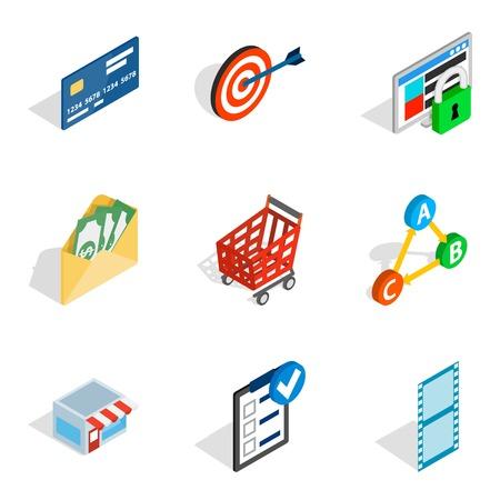 Informational progress icons set. Isometric set of 9 informational progress vector icons for web isolated on white background Illustration