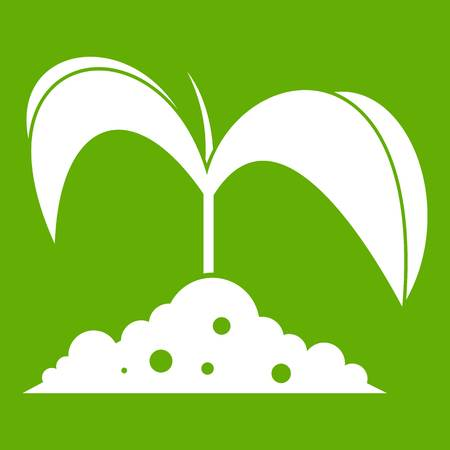 Green seedling in soil icon white isolated on green background. Vector illustration
