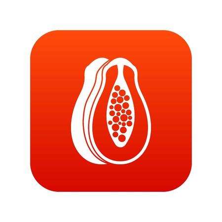 Papaya icon digital red Illustration