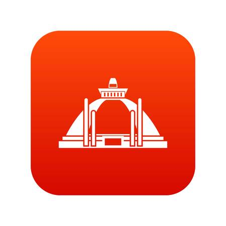 Polonnaruwa, 고 대 stupa 아이콘 디지털 빨간색 흰색 벡터 일러스트 레이 션에서 격리 된 디자인에 대 한 일러스트
