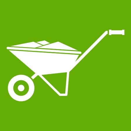 Wheelbarrow icon white isolated on green background. Vector illustration