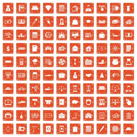 100 credit icons set in grunge style orange color isolated on white background vector illustration
