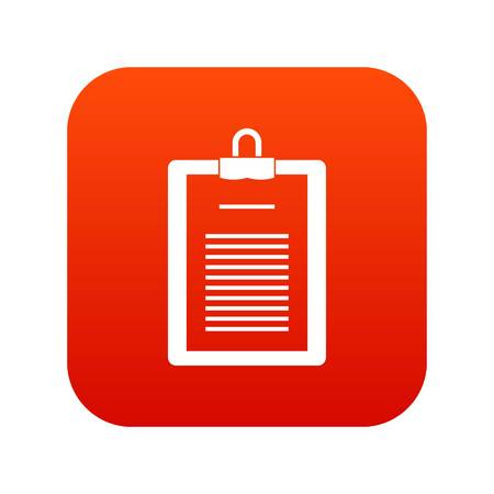 Clipboard with checklist icon digital red for any design isolated on white vector illustration