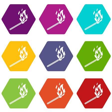 Match flame icon set vector illustration