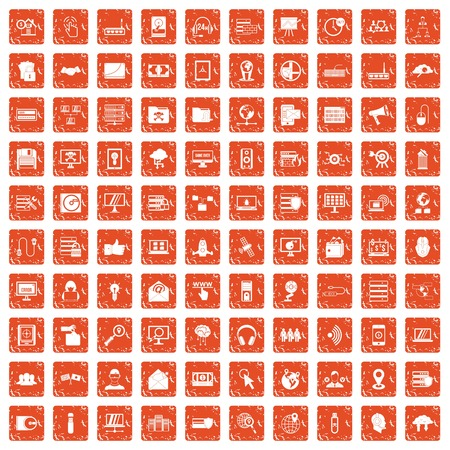 100 cyber security icons set