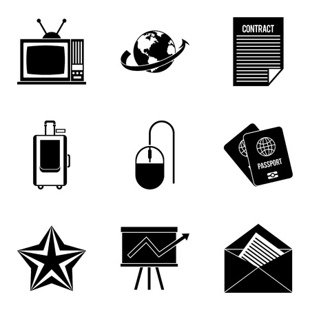 Journalist icons set, simple style.