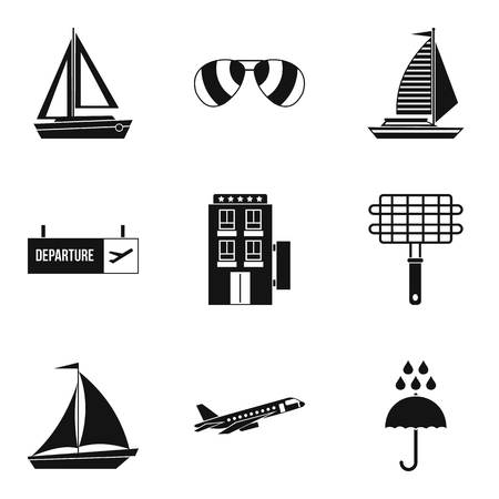 Wandering icons set. Simple set of 9 wandering vector icons for web isolated on white background Иллюстрация