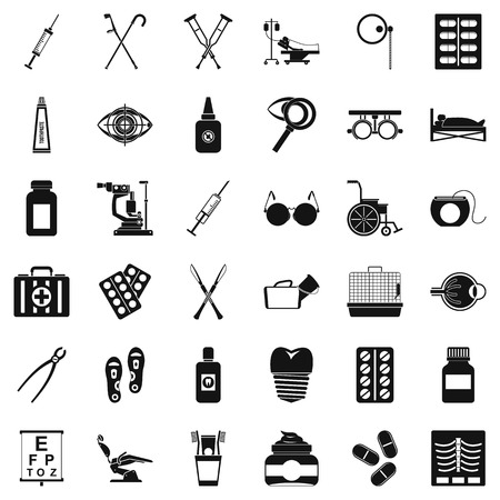 Medical accessories icons set, simple style Stock Illustratie