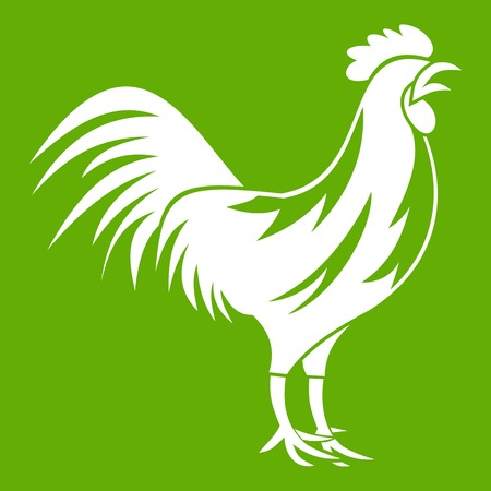 Gallic rooster icon white isolated on green background. Vector illustration Illustration