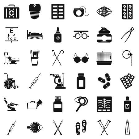 Salutary iconen set, eenvoudige stijl