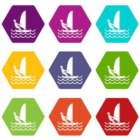 Man on windsurf icon set color hexahedron