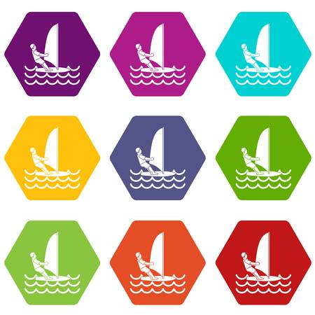 Man on windsurf icon set color hexahedron