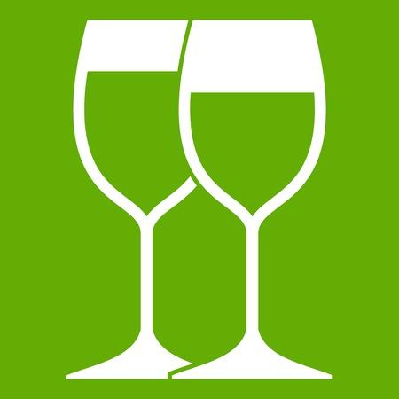 Wine glasses icon green