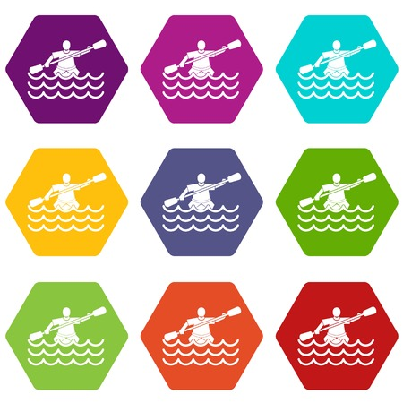 Male athlete in a canoe icon set color hexahedron