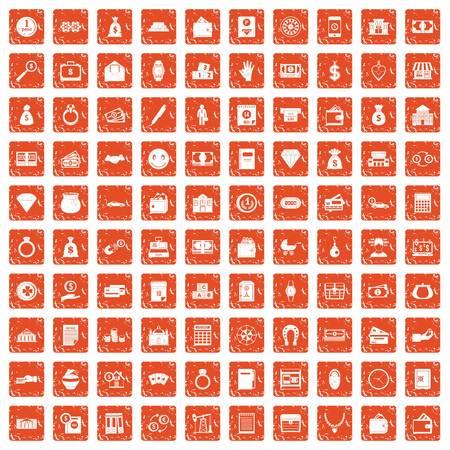100 deposit icons set grunge orange Illustration