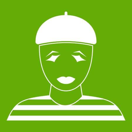Clown icon green background Illustration