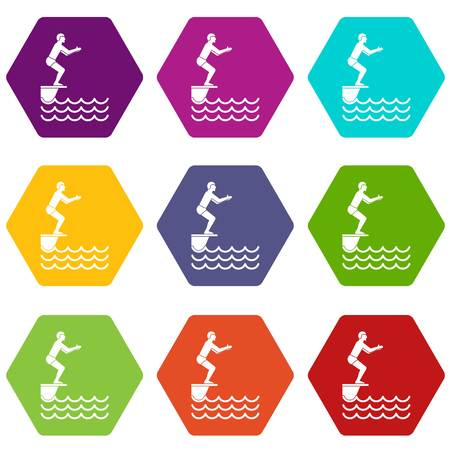 Man standing on springboard icon set color hexahedron