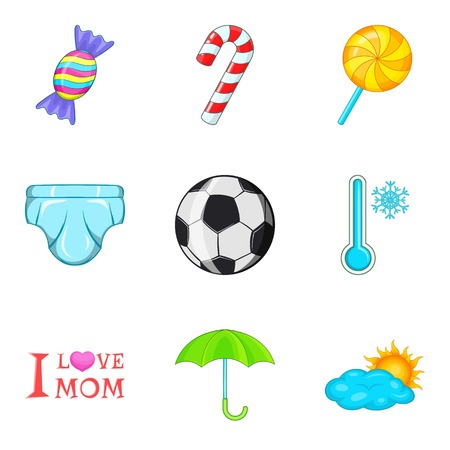 Cartoon set of 9 puberty vector icons for web isolated on white background