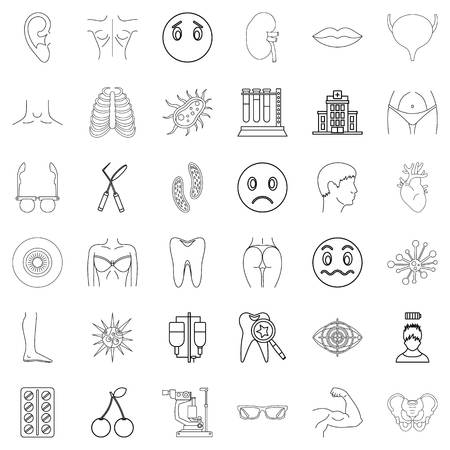 Outline set of 36 medical advisor vector icons for web isolated on white background
