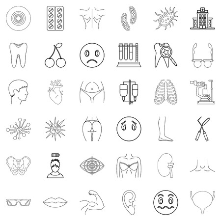 Sanitary icons set, outline style