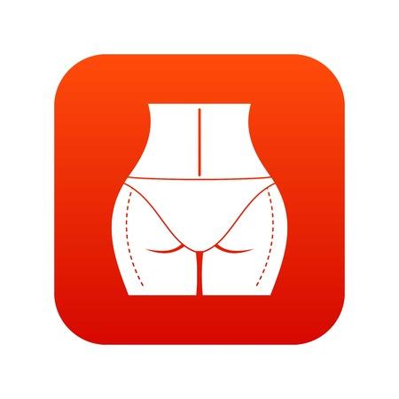 Woman prepared to plastic surgery icon digital red Vetores