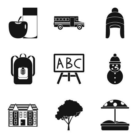 Kidskin icons set, simple style Illustration