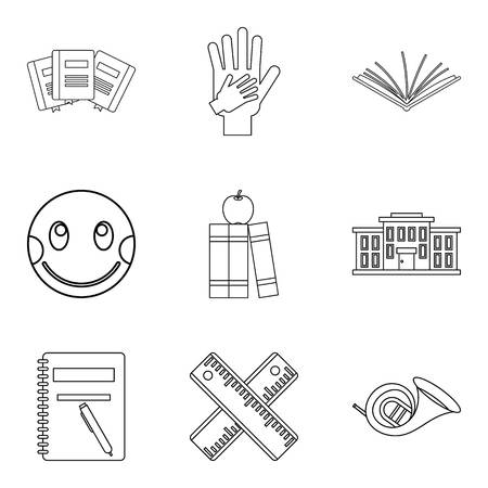 Infant school icons set, outline style
