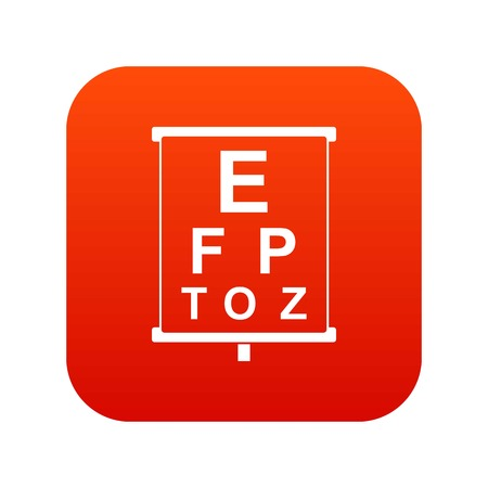 White placard with letters eyesight testing icon digital red Illustration