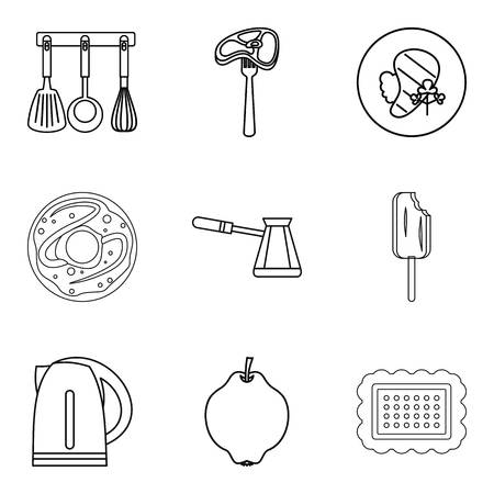 Galley icons set, outline style