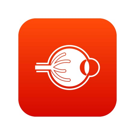 Human eyeball icon digital red background Illustration
