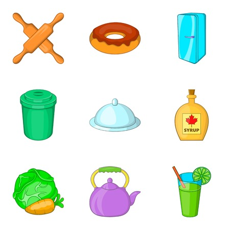 Kitchenware icons set, cartoon style