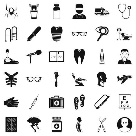 Medical treatment icons set, simple style Illustration