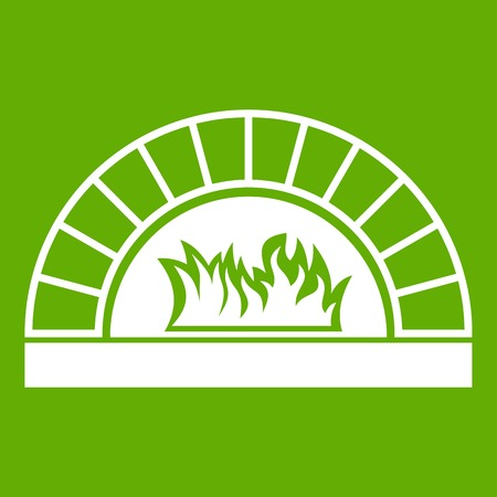 Pizza oven with fire icon green. Illustration