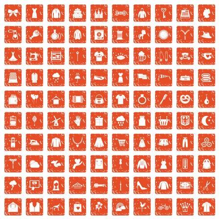 100 dress icons set grunge orange