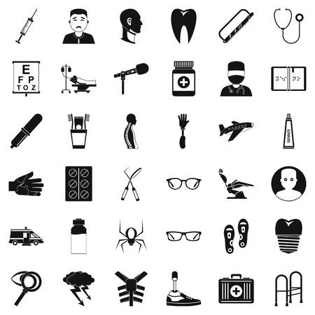 Med care icons set, simple style