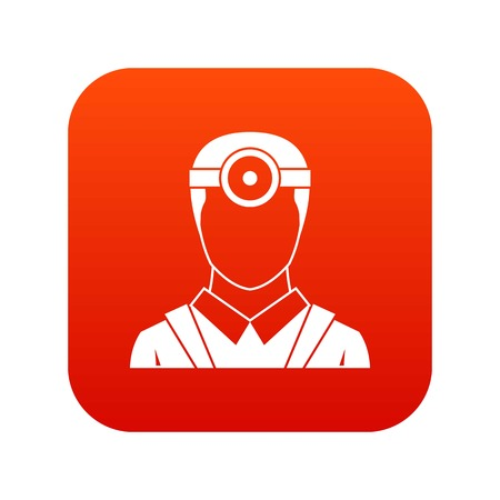 Ophthalmologist with head mirror icon digital red