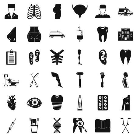 MD care icons set, simple style.